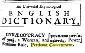 Gynocracy peticoat gpvernment 1737
