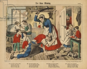 """Blue Monday"" - a shoemaker's wife beating her husband, broadsheet published by C. Burckhardt, Weissenburg, c.1850 (colour litho)"
