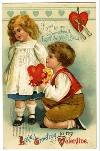 Valentine's card - boy on one knee