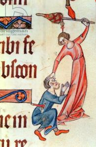 Add 42130 Margin illumination showing a wife beating her husband with a distaff, from the Luttrell Psalter, begun prior to 1340 for Sir Geoffrey Luttrell (vellum)