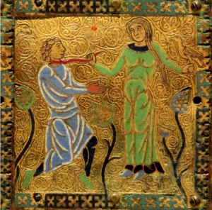 Mediaeval image of a woman leading a man with a leash or halter.