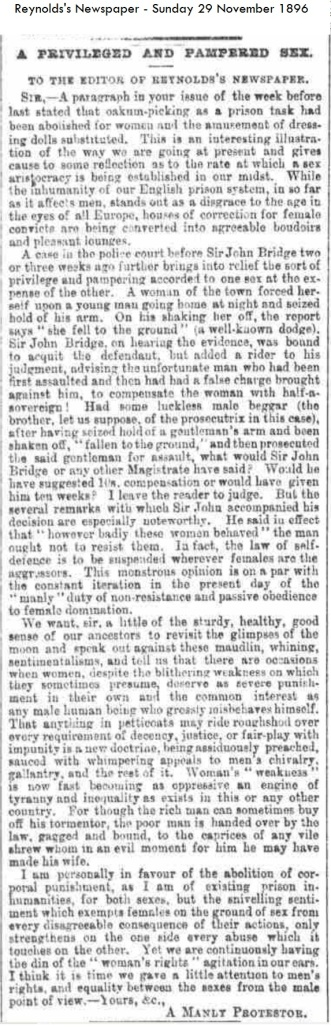 1896- Women a priviledged and Pampered Sex - Reynolds's Newspaper - Sunday 29 November 1896