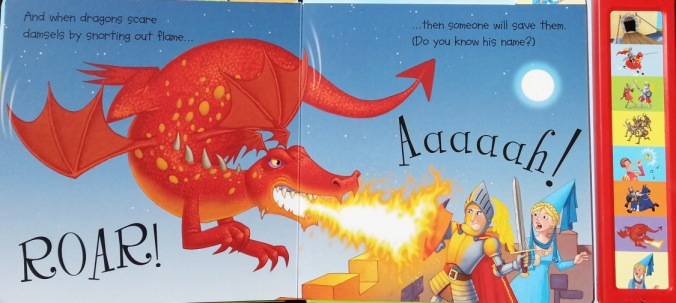 Book for 2-5 yr old boys, complete with battery-operated button that produces the sound of a damsel screaming