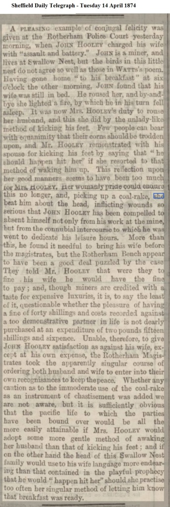 1874 Sheffield Daily Telegraph - Tuesday 14 April 1874