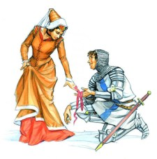 MEDIEVAL KNIGHT & LADY BEFORE JOUST- ILLUSTRATION