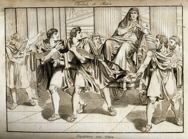 "ancient world, Greece, mythology, ""Kleobis and Biton"", copper engraving, ""Vorzeit und Gegenwart"", Augsburg, 1832,  antiquity, Gr"