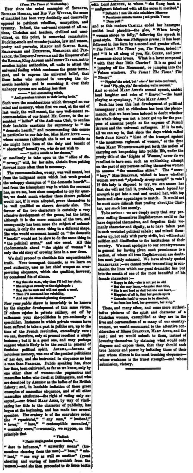 Anti-Man movement - Evening Mail - Wednesday 26 October 1842
