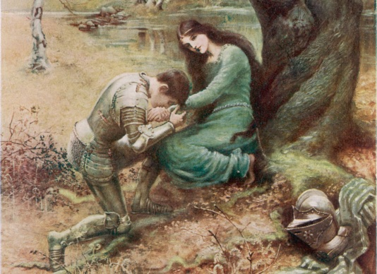 A medieval Knight, with his  young lover, gets down on one  knee...        Date: First published: 1898